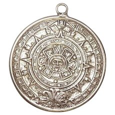 Aztec Calendar Sterling Charm with Eagle 1 mark