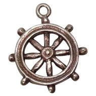 Vintage Ships Wheel Sterling Charm