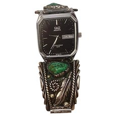 Green Turquoise Sterling Watch Band Native American