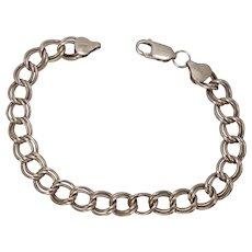 "Italian Sterling Double Curb Link Charm Bracelet 7 1/2"""
