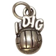 """ I Dig Volleyball"" Sterling Charm"