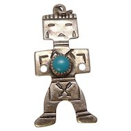 Sterling Turquoise Mayan Man Charm