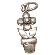 Flower Pot Sterling Charm