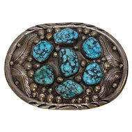 Signed HEAVY Sterling Turquoise Belt Buckle 104.4 grams