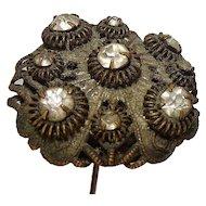 """Antique Victorian Brass Rhinestone Hat Pin 4 5/8"""""""