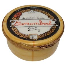 Limoges Hand Painted Camembert Cheese Jar Porcelain Pill Box