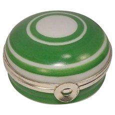 Limoges Green Circular Motif Porcelain Pill Box