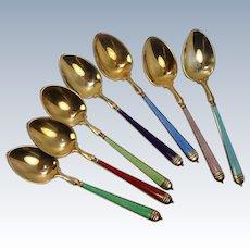 Guilloche Enameled Demitasse Spoons