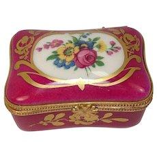 Gorgeous Limoges France Floral Porcelain Pill Box