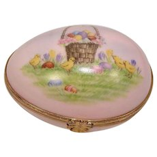 Limoges Easter Basket Egg Form Pill Box