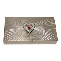 Sterling Heart Rose and Leaf Pill Box