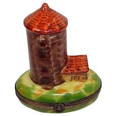 Limoges Hand Painted Grain Silo Porcelain Pill Box