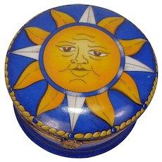 Limoges Sun Porcelain Trinket or Pill Box