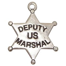 Deputy US Marshal Badge Sterling Charm