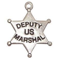 Deputy US Marshall Badge Sterling Charm