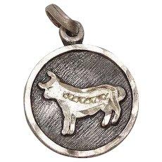 Vintage Mexico Taurus Zodiac Sign Sterling Charm