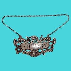 Gorham Sterling Sherry Decanter Label