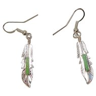 Signed Allen Barney Navajo Gaspeite Sterling Feather Earrings