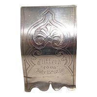 Rare 1870 Joseph G, Jodah Toronto Coin Silver Napkin Ring