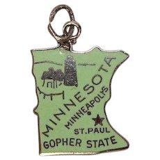 Minnesota State Enameled Sterling Charm
