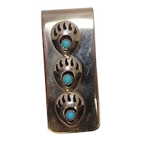 Native American Bear Claw Turquoise Mixed Metal Money Clip