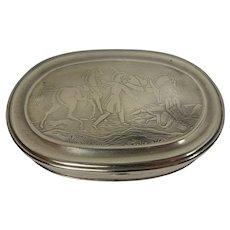 1860 C. Parker Equestrian Themed Metal Snuff Box