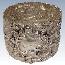 "Shiebler Acanthus ""Winnie"" Ornate Sterling Napkin Ring"