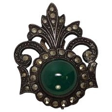 Vintage 1930's Green Stone Marcasite Sterling Lapel Clip Pin