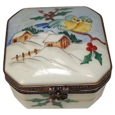 Limoges Winter Scene Porcelain Trinket or Pill Box