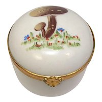 Limoges Mushrooms Small Trinket Porcelain Pill Box