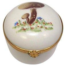 Limoges Mushrooms Small Trinket Porcelain Pill Box
