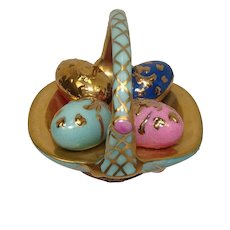 Limited Edition Limoges  Porcelain Easter Basket Hand Painted Pill Box