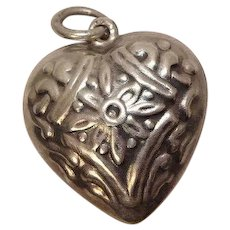 Sterling Puffy Heart Charm