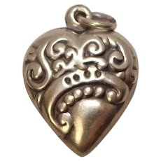 Vintage Puffy Heart Sterling Charm