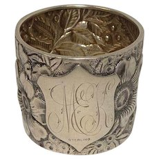 Outstanding Floral and Leaf Repousse Sterling Napkin Ring
