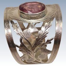 Antique William Vale & Sons 1916 Thistle and Amethyst Sterling Napkin Ring