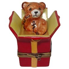 Limoges Teddy Bear Gift Box Porcelain Pill Box