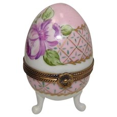 Limoges Hand Painted Floral and Leaf Footed Egg Porcelain Pill Trinket Box