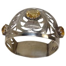 Antique 1914 J. Cook & Sons Ltd Birmingham Thistle and Citrine Sterling Napkin Ring