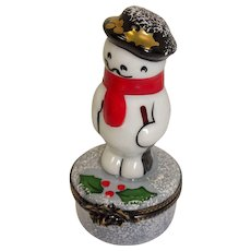 Limoges Hand Painted Snowman Winter Theme Porcelain Pill Box