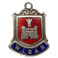 Wigan England Sterling Enameled Travel Charm