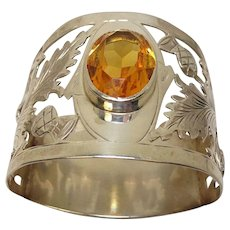 Antique 1909 Sterling Thistle Leaf Citrine Napkin Ring