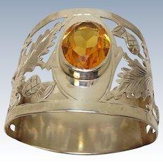 Antique 1909 Sterling Thistle Leaf Citrine Napkin Ring