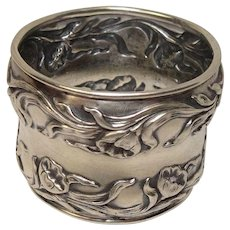 1900 Sterling Art Nouveau Flower and Vine Napkin Ring
