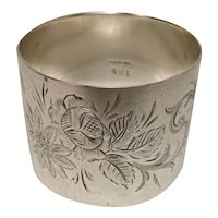 Gorgeous Floral and Leaf Engraved Sterling Napkin Ring