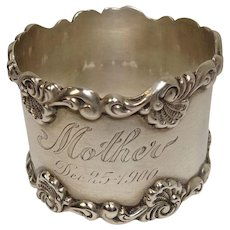 "Antique Sterling Napkin Ring engraved ""Mother Dec. 25, 1900"""
