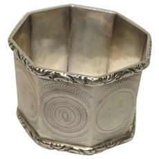 Sterling Octagon Ornate Edged Napkin Ring