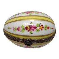 Limoges Floral and Leaf Egg Form Porcelain Pill Box