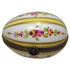 Limoges Floral and Leaf Egg Form Porcelain Pill Box