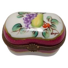 Cute Fruit and Leaf Hand Painted Limoges France Pill Box